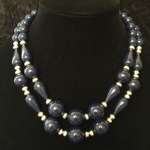 Jewelry - Vintage Navy & Gold Beaded Necklace JJ123